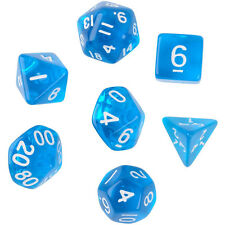 Funny 7pcs TRPG Games Dungeons & Dragons Clear D4-D20 Multi Sides Dice Set Blue
