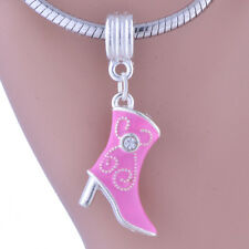White Gold Filled Silver Shoe Boot Crystal Stone Pendant For Long Necklace