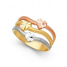 EJLR30445A - Solid 14K tricolor gold Hearts ring with D/C accents