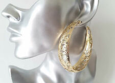 STUNNING! Big & wide gold tone filligree patterned large  hoop earrings *NEW
