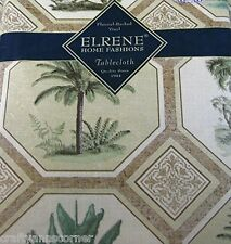 Elrene Tropical Palm Trees Vinyl Flannel Backed Tablecloth 60 Round