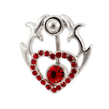 Two Part Tribal Heart Shield 2 in 1 Belly Button Ring Red