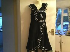 Size 16 Coast Lined Dress In Black With White Trim Cross Over Style