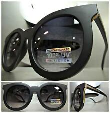CLASSIC Old School VINTAGE Cool RETRO Style SUN GLASSES Matte Black & Gold Frame