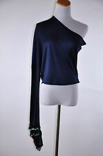 Lanvin One Shoulder Long Sleeve Embellished Blue Top Size 36