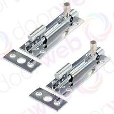 2 x DOOR SLIDE BOLT Security Necked Sliding Barrel Cabinet Cranked CHROME 75mm