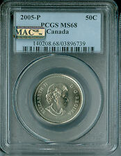 2005-P CANADA 50 CENTS PCGS MAC MS68 PQ LOW MINTAGE 2ND FINEST GRADED SPOTLESS *