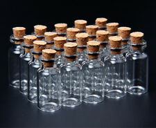 16x35mm Wholesale Lot 20Pcs Tiny Mini Empty Clear Cork Glass Bottles Vials 2m MA
