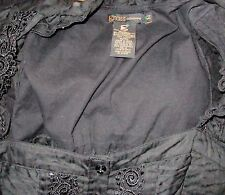 Women's Black embroidered Corset top 100% Cotton, Grass Brand (Macy's) , Floral