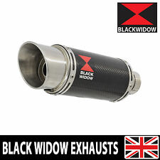 BLACK WIDOW CARBON FIBRE EXHAUST SILENCER END CAN 200MM ROUND SLIP ON (200CS)