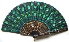 Chinese Asian Sequined Peacock Feather Pattern Girls Costume Folding Hand Fan