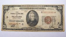 1929 Philadelphia $20 STAR SERIAL NOTE Dollar Federal Reserve Bank Bill Jones