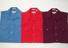Lot of 3 authentic SHEPLERS short sleeve SHIRTS Shirt S 15.5 blue red burgundy