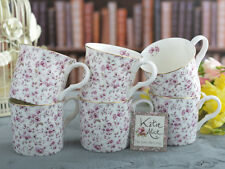 Set of 6 KATIE ALICE Ditsy White Floral BONE CHINA Shabby Chic MUGS w/ Gold Rim