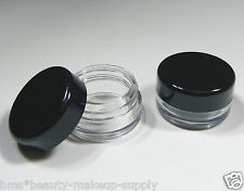 200 Cosmetic Jars Wholesale Empty 3 Gram Lip Balm Pot Containers Black Lid |5030