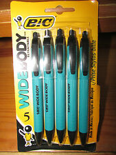 BIC ~ Package of 5 WIDE BODY SOFT FEEL Pens w/ Black Ink Medium Point ~ NEW