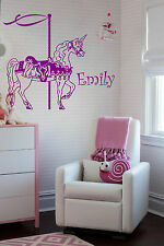 Unicorn Carousel & Personalized Name Wall Stickers Horse Elephant Unicorn