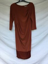 COS Midi Dress Terracotta Unusual Pleated Design EU 40 UK 12-14