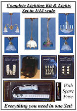 1/12 Dolls house Complete Lighting Kit & 6 Mixed Lights Free Lighting Guide LGW