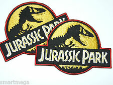 2 JURASSIC PARK Logo Iron Sew On Patch Badge Transfer Fancy Dress Costume