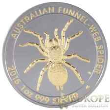 2015 1 Oz Ounce Silver Funnel Web Spider Coin Ruthenium and Gold Gilded 999 COA