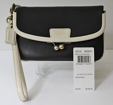 Rare COACH Black Legacy Stripes Folded Frame WRISTLET Two Tone KISS LOCK 40216