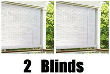 """(2) Lewis Hyman # 0320146  48"""" W x 72"""" L White .25 Oval PVC Roll Up Patio Blinds"""