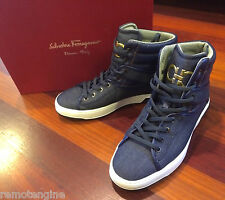 Salvatore Ferragamo Nantes 3 High Top Sneaker Size 8 Shoe Blue Denim Gold Logo