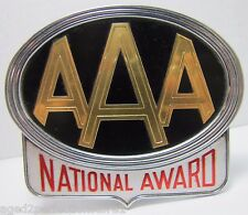 Vtg AAA National Award Automobile Club License Plate Topper Sign Bumper Plaque