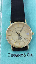 Rare! Vintage Tiffany & Co. 14K Yellow Gold Quartz Watch Black Leather