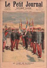 Camp de Sathonay Félix Faure Drapeau Flags Zouaves  France 1895 ILLUSTRATION
