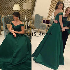 Emerald Green Off shoulder Evening Gowns Satin A Line Prom Formal Party Dresses