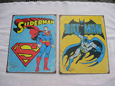 "Lot Of 2 Retro Batman & Superman Metal Posters 16"" X 12 1/2"""