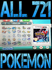 GENUINE POKEMON Y WITH ALL 721 SHINY POKEMON ALL ITEMS NINTENDO 3DS / 2DS X