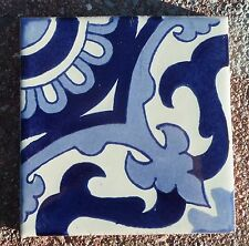 "10~Talavera Mexican 4"" tile pottery hand painted Capri blue white 4 make pattern"