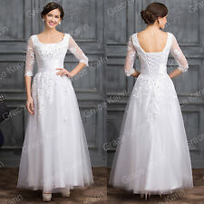 Vintage Style Applique Lace Gothic Wedding Prom Dresses Long Party Evening gown