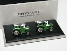 Novelty Cufflinks - Green Tractor Design - Farmer Gift