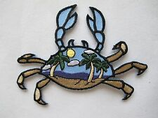 #4195 Crab w/Breach,Coconut Tree,Sun Shine Embroidery Iron On Applique Patch