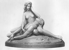Mythology, NAKED NUDE WOMAN GIRL SIREN & DROWNED BOY ~ 1873 Art Print Engraving