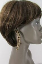 New Women Gold Metal Leopard Nail Fashion Long Earrings Animal Print Rhinestones