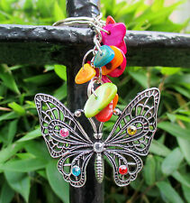 silver butterlfy key ring  bag charm with rhinestones gemstone chips & gift bag