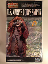 "ELITE FORCE 12"" 1/6 SCALE US MARINE CORPS SNIPER ""SNAKE"" FIGURE BLUE BOX BBI"
