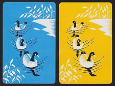 2 SINGLE VINTAGE PLAYING CARDS BLACK HEAD DUCK BIRDS SWIMMING ON POND