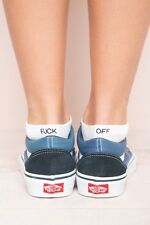 New! Brandy Melville White Ribbed Knit F*ck off Ankle Socks Nwt