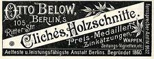 Otto Below Berlin CLICHES HOLZSCHNITTE Historische Reklame von 1896