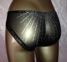 BLACK SILVER DIAMONTIES STRETCHY SPANDEX PANTIES KNICKERS SIZE MED 12 UK