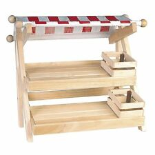 Wooden Toy Nursery Table Top Market Stall & 2 Crates & Fruit / Veg - NEW