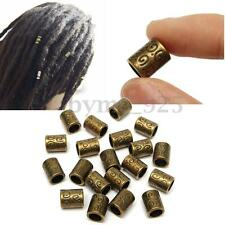20Pcs Women Copper Dreadlock Hair Braid Dread Tubes Cuff Clip Beads 5mm Hole