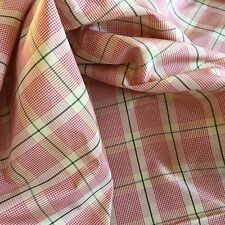 PERFECT PINK PLAID SILK TAFFETA DESIGNER FABRIC with GREEN & BLUE ACCENTS 10 YDS