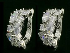 14k White Gold GF Earrings made w/Auth Swarovski Crystal Clear Stone Bridal Prom